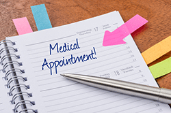 Medical appointment reminder on calendar