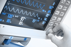 Monitor displaying ECG curves